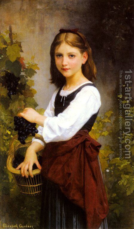 A Young Girl Holding A Basket Of Grapes by Elizabeth Jane Gardner Bouguereau - Reproduction Oil Painting