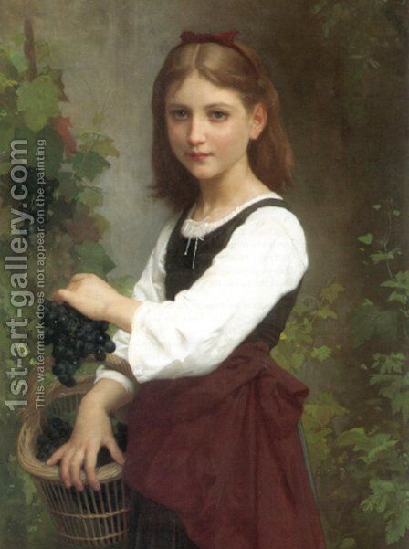 Young Girl Holding A Basket Of Grapes by Elizabeth Jane Gardner Bouguereau - Reproduction Oil Painting