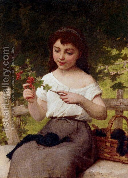 A Sprig Of Berries by Emile Munier - Reproduction Oil Painting