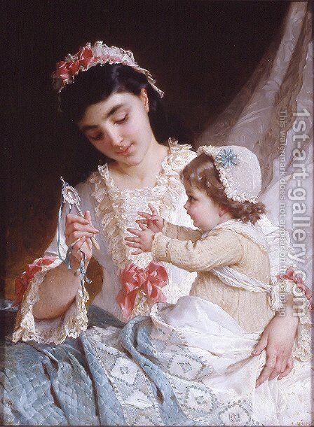 Distracting The Baby by Emile Munier - Reproduction Oil Painting