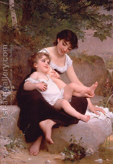Mother And Child by Emile Munier - Reproduction Oil Painting