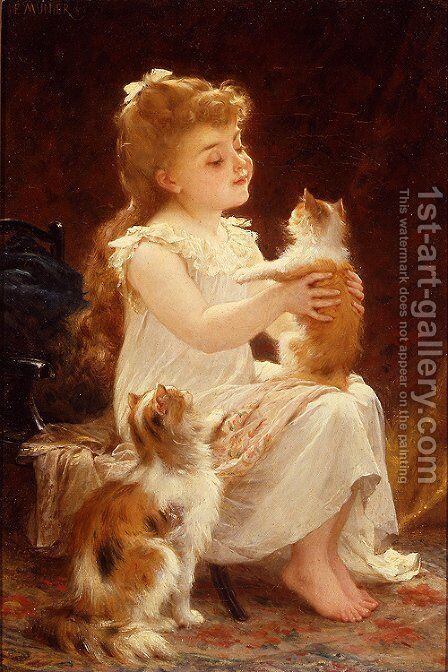 Playing With The Kitten by Emile Munier - Reproduction Oil Painting