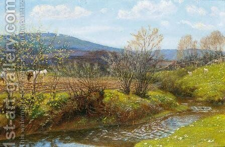 A Spring Afternoon by Arthur Hughes - Reproduction Oil Painting