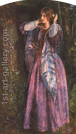 Amy (study) by Arthur Hughes - Reproduction Oil Painting