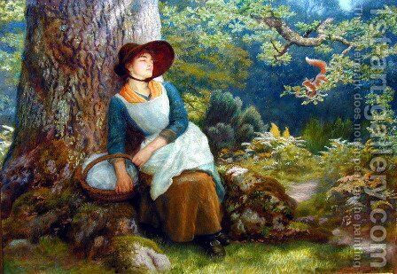 Asleep In The Woods by Arthur Hughes - Reproduction Oil Painting