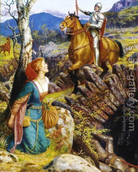 Overthrowing the Rusty Knight  1908 by Arthur Hughes - Reproduction Oil Painting