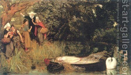 The Lady of Shalott 1872-73 by Arthur Hughes - Reproduction Oil Painting