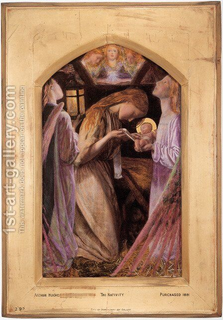 The Nativity 1857-58 by Arthur Hughes - Reproduction Oil Painting