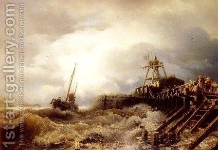 A Fishing Boat Caught In A Squall Off A Jetty by Andreas Achenbach - Reproduction Oil Painting