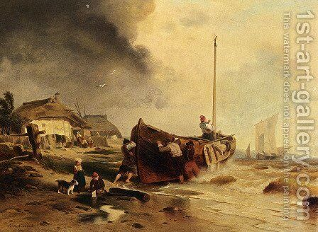 A Fishingboat On The Beach by Andreas Achenbach - Reproduction Oil Painting