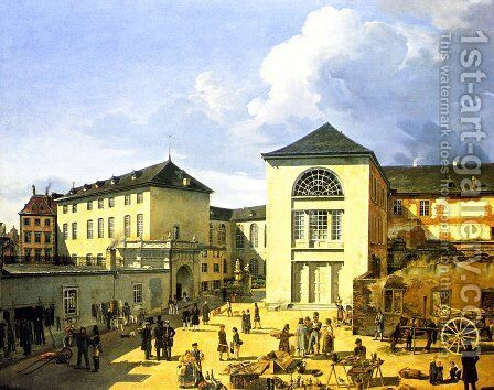 Die Alte Akademie In Dusseldorf by Andreas Achenbach - Reproduction Oil Painting