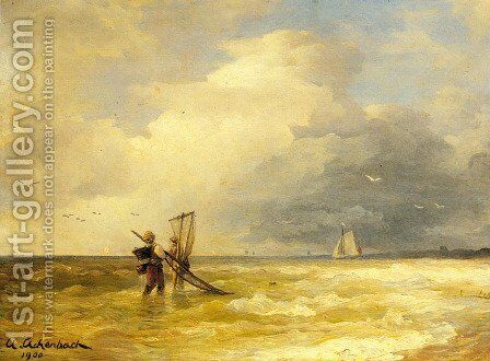 Fishing Along The Shore by Andreas Achenbach - Reproduction Oil Painting