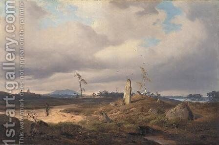 Landscape With Rune Stone by Andreas Achenbach - Reproduction Oil Painting