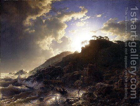 Sunset After A Storm On The Coast Of Sicily by Andreas Achenbach - Reproduction Oil Painting