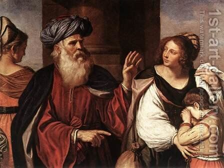 Abraham Casting Out Hagar And Ishmael 1657 by Giovanni Francesco Guercino (BARBIERI) - Reproduction Oil Painting