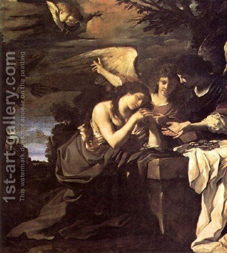 Magdalen And Two Angels 1622 by Giovanni Francesco Guercino (BARBIERI) - Reproduction Oil Painting