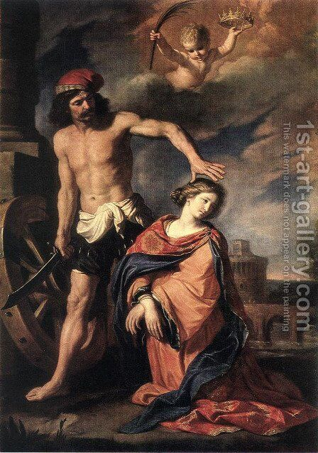 Martyrdom Of St Catherine 1653 by Giovanni Francesco Guercino (BARBIERI) - Reproduction Oil Painting