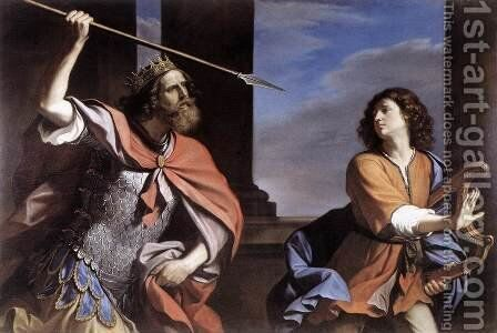 Saul Attacking David  1646 by Giovanni Francesco Guercino (BARBIERI) - Reproduction Oil Painting