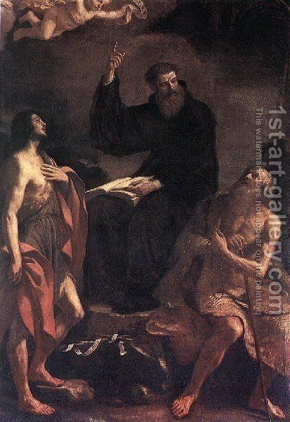 St Augustine  St John The Baptist And St Paul The Hermit by Giovanni Francesco Guercino (BARBIERI) - Reproduction Oil Painting