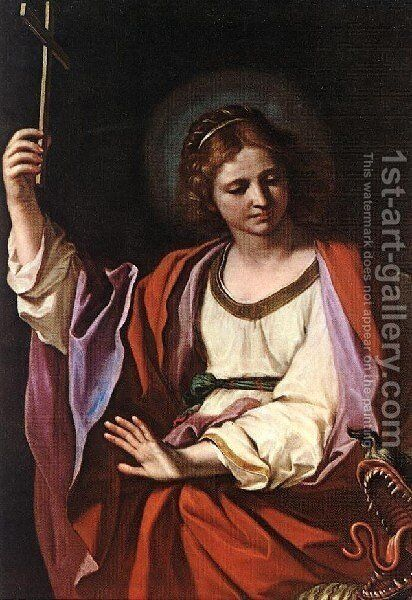 St Marguerite by Giovanni Francesco Guercino (BARBIERI) - Reproduction Oil Painting