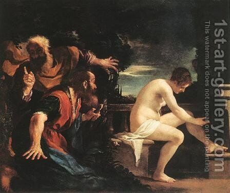 Susanna And The Elders 1617 by Giovanni Francesco Guercino (BARBIERI) - Reproduction Oil Painting