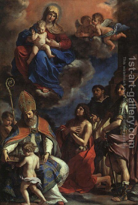 The Patron Saints Of Modena 1651-52 by Giovanni Francesco Guercino (BARBIERI) - Reproduction Oil Painting