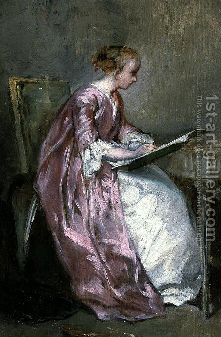 A Young Girl Drawing by Charles Chaplin - Reproduction Oil Painting