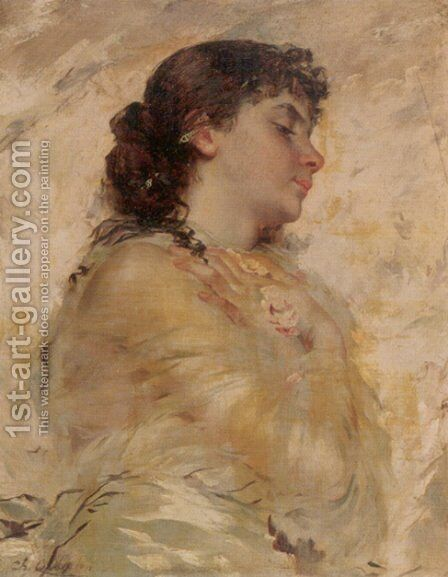 Portrait Of A Young Woman In Profile by Charles Chaplin - Reproduction Oil Painting