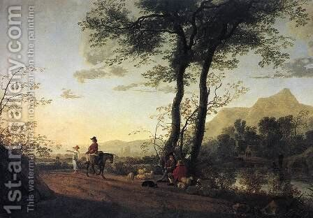 A Road Near A River by Aelbert Cuyp - Reproduction Oil Painting