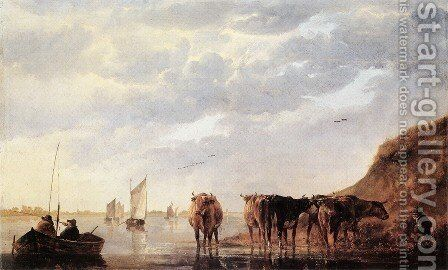 Herdsman with Cows by a River 1650 by Aelbert Cuyp - Reproduction Oil Painting