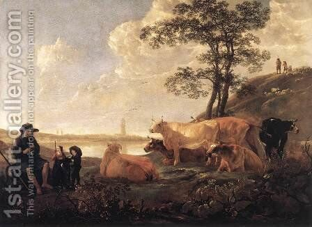 Landscape near Rhenen 1650-55 by Aelbert Cuyp - Reproduction Oil Painting