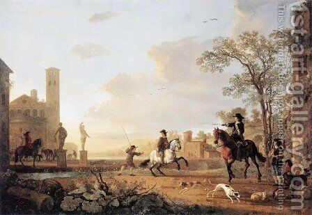 Landscape With Horse Trainers by Aelbert Cuyp - Reproduction Oil Painting