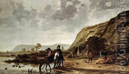 Large River Landscape with Horsemen by Aelbert Cuyp - Reproduction Oil Painting