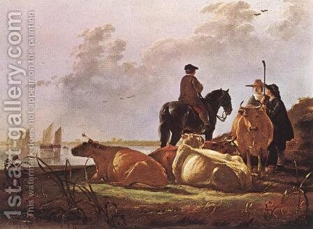 Peasants with Four Cows by the River Merwede by Aelbert Cuyp - Reproduction Oil Painting