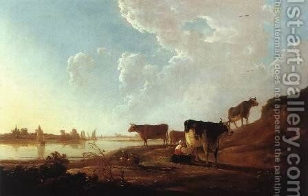 River Scene with Milking Woman c. 1646 by Aelbert Cuyp - Reproduction Oil Painting
