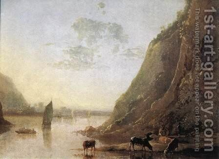 River-bank with Cows c. 1650 by Aelbert Cuyp - Reproduction Oil Painting