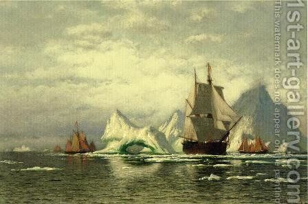Arctic Whaler Homeward Bound Among The Icebergs by William Bradford - Reproduction Oil Painting
