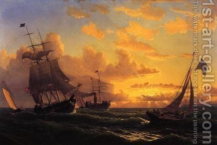 Fresh Breeze Of Sandy Hook by William Bradford - Reproduction Oil Painting