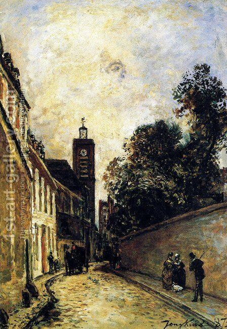 Rue De L Abbe De L Epee And The Church Of Saint James by Johan Barthold Jongkind - Reproduction Oil Painting