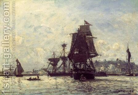 Sailing Ships At Honfleur by Johan Barthold Jongkind - Reproduction Oil Painting