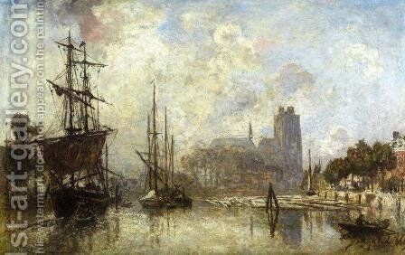 The Port Of Dordrecht by Johan Barthold Jongkind - Reproduction Oil Painting