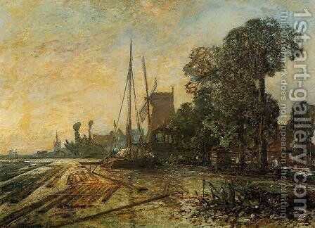 Windmill Near The Water by Johan Barthold Jongkind - Reproduction Oil Painting