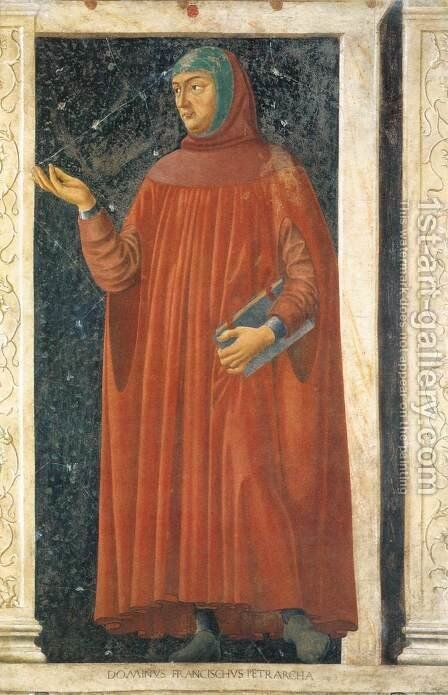 Famous Persons Francesco Petrarca 1450 by Andrea Del Castagno - Reproduction Oil Painting