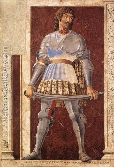 Famous Persons Pippo Spano 1450 by Andrea Del Castagno - Reproduction Oil Painting