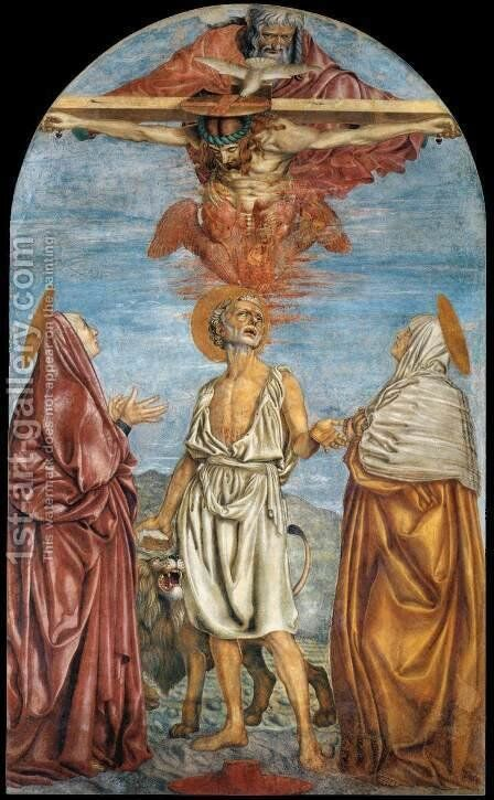 The Holy Trinity  St  Jerome And Two Saints 1453 by Andrea Del Castagno - Reproduction Oil Painting