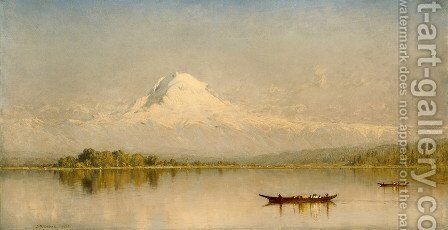 Mount Rainier  Bay Of Tacoma by Sanford Robinson Gifford - Reproduction Oil Painting
