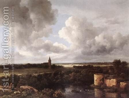 An Extensive Landscape with a Ruined Castle and a Village Church 1665-72 by Jacob Van Ruisdael - Reproduction Oil Painting