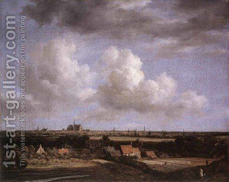 Landscape with a View of Haarlem 1670-75 by Jacob Van Ruisdael - Reproduction Oil Painting