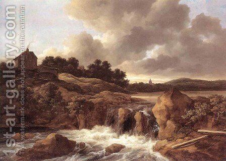 Landscape with Waterfall c. 1670 by Jacob Van Ruisdael - Reproduction Oil Painting