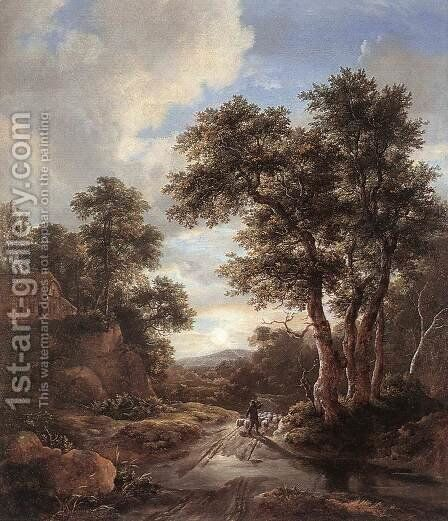 Sunrise in a Wood  1670 by Jacob Van Ruisdael - Reproduction Oil Painting